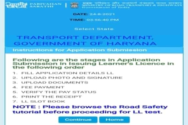 driving licence instruction